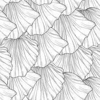 Blomlösa sömlösa mönster, inristade blomblad. Blommig textur