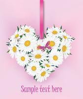Blombukett. Blommor hjärta ram. Blommigt sommar hälsningskort.