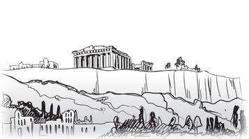 Resor Greklands bakgrund. Aten stad berömda landmärke byggnad.