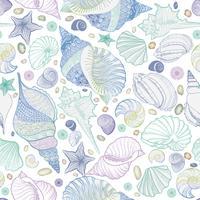 Seashell sömlöst mönster. Sommarlov marin bakgrund