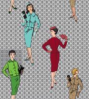 Vintage gekleidete Mädchen der 20er Jahre Stil. Nahtloses Muster der Retro- Modepartei.
