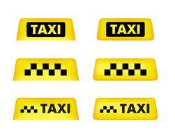 Taxi bil skylt. Ikonuppsättning. Vektor