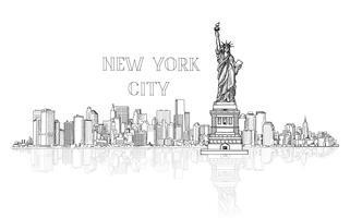 New York, USA skyline bakgrund. Stadens silhuett graveringsvy vektor