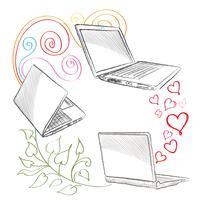 Bärbar dator Datoranslutning koncept. Socialt samarbete tecken
