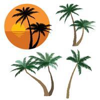 Palmset. Natur blommiga designelement. Tropiska växtträd