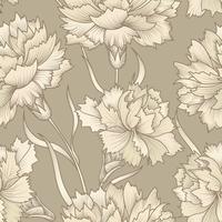 Floral retro sömlösa mönster. Blomma graverad bakgrund.