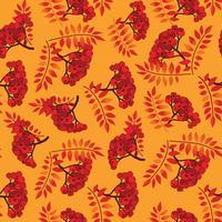 Herbst nahtlose Muster. Herbstlaubhintergrund, Ebereschebeerenniederlassung