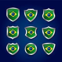 Brasil Sköld Flagga Vektor