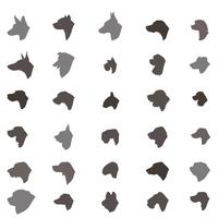 Dog head silhouette icon set Olika dos rasen tecken