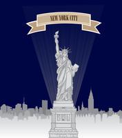 Skyline von New York City, USA. Amerikanische Stadt, Freiheitsdenkmal
