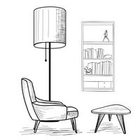 Wohnzimmer. Lesen von Innenmöbeln: Sessel, Tisch, Bücherregal.