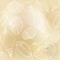 Seashell sömlöst mönster. Sommarlov marin bakgrund. vektor