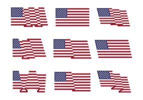 Amerikanische Flagge Set Vektor