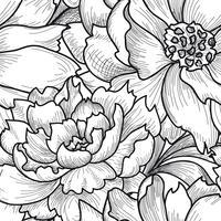 Blommigt sömlöst mönster. Blomma bakgrund. Graverad konsistens vektor