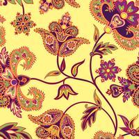 Asiatiskt sömlöst mönster. Blom bakgrund. Underland blommor