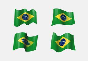 Realistiska Brasil Flaggor Clipart