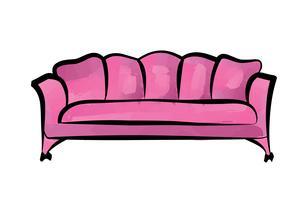 Sofa Möbel Zeichen. Ausführliche Couchinnenillustration.