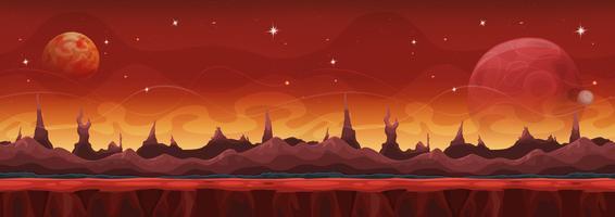 Fantasy Wide Sci-Fi Mars Hintergrund für Ui-Spiel vektor