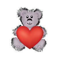 Teddybärspielzeug mit großem rotem Herzen in den Händen. Ich liebe dich Valentinskarte