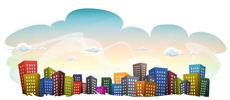 Stadtbild mit Gebäuden am Himmel Hintergrund vektor