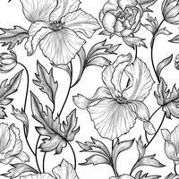Blommigt sömlöst mönster. Blomma bakgrund Gravyr trädgårdsstruktur