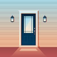 Stängd blå dörr