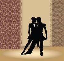 Dansklubbaffisch. Par dansar. Vackra dansare utför tango. vektor