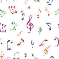 Musikmönster. Musik anteckningar och skyltar sömlös bakgrund vektor