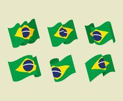 Brasil Flagga Clipart Set