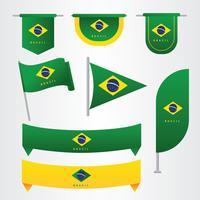 Brasilien Flag Clipart Vector Pack