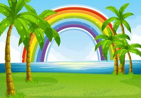 Ocean och regnbåge vektor