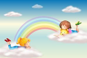 Zwei Mädchen am Regenbogen vektor