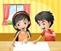En pojke och en tjej diskuterar med en tom skyltning vid bordet