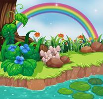 En flodbank med blommor och en regnbåge
