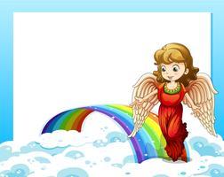 Eine leere Vorlage mit einem Regenbogen und einem Engel
