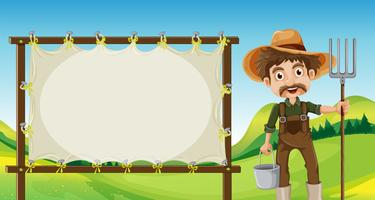 Ein Bauer neben der leeren Beschilderung