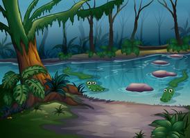 Krokodiler i en flod vektor