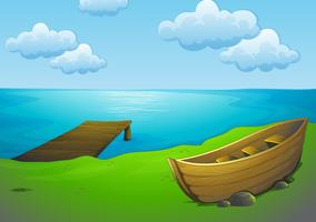 Sjö och båt vektor