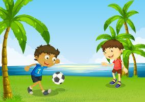 Jungen, die Fußball am Flussufer spielen vektor