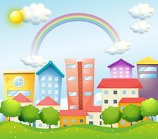 En produktiv stad med höga byggnader vektor