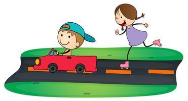 Kinder und Auto vektor