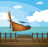 En båt nära hamnen vektor