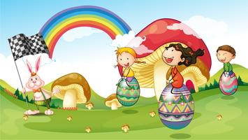 En kanin och barn med påskägg