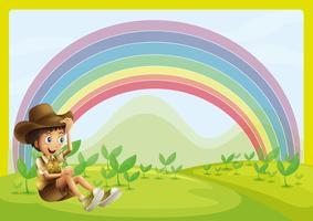 Pojke och regnbåge vektor