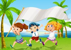 Kinder laufen mit einem leeren Banner vektor