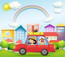 Eine Mutter und ein Kind in einem Auto mit einem Vogel