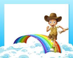 Eine leere Vorlage und ein Junge, der mit einer Schriftrolle über den Regenbogen rennt