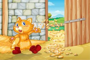 Kätzchen mit Münzen vektor