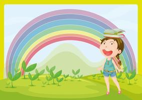 Ein lächelndes Mädchen und ein Regenbogen