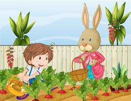 Trädgårdsmästaren och kaninen vektor